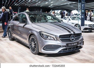 "Frankfurt, Germany, SEP 12-24, 2017: Mercedes-Benz CLA 220 4Matic coupe ""Peak Edition"" at 67th International Motor Show (IAA)"