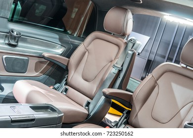 Frankfurt, Germany, SEP 12-24, 2017: Mercedes-Benz V-Class 250 d Exclusive Edition long at 67th International Motor Show (IAA), upholstery, seats,
