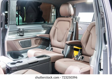 Frankfurt, Germany, SEP 12-24, 2017: Mercedes-Benz V-Class 250 d Exclusive Edition long at 67th International Motor Show (IAA), upholstery, seats