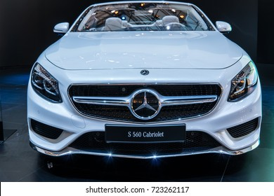 Frankfurt, Germany, SEP 12-24, 2017: World premiere: Mercedes-Benz S 560 Cabriolet at 67th International Motor Show (IAA)