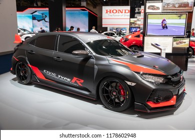 FRANKFURT, GERMANY - SEP 13, 2013: Honda Civic Type R sports car showcased at the Frankfurt IAA Motor Show.