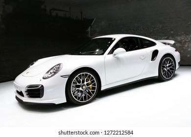 FRANKFURT, GERMANY - SEP 13, 2013: Porsche 911 Turbo S sports car showcased at the Frankfurt IAA Motor Show.