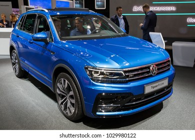 FRANKFURT, GERMANY - SEP 13, 2017: Volkswagen Tiguan R-Line car at the Frankfurt IAA Motor Show.
