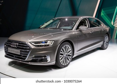 FRANKFURT, GERMANY - SEP 13, 2017: New 2018 Audi A8 L Quattro luxury car at the Frankfurt IAA Motor Show.