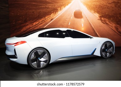 FRANKFURT, GERMANY - SEP 13, 2017: BMW iVision Dynamics electric concept car at the Frankfurt IAA Motor Show.