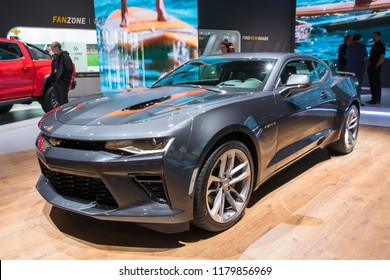 FRANKFURT, GERMANY - SEP 13, 2017: Chevrolet Camaro SS Fifty Edition car showcased at the Frankfurt IAA Motor Show.