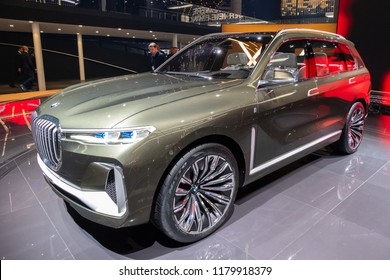 FRANKFURT, GERMANY - SEP 13, 2017: BMW X7 iPerformance SUV car showcased at the Frankfurt IAA Motor Show.