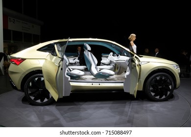 FRANKFURT, GERMANY - SEP 13, 2017: Skoda Vision E electric car at the Frankfurt IAA Motor Show 2017.