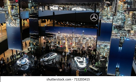 FRANKFURT, GERMANY - SEP 13, 2017: Mercedes Benz Festival Hall at the Frankfurt IAA Motor Show 2017.