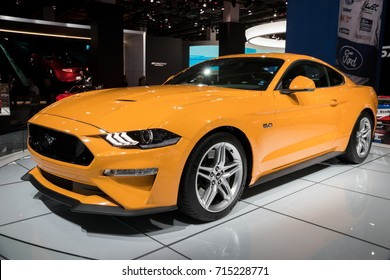 FRANKFURT, GERMANY - SEP 13, 2017: 2018 Ford Mustang GT sports car at the Frankfurt IAA Motor Show 2017.