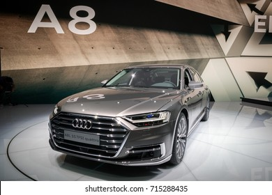 FRANKFURT, GERMANY - SEP 13, 2017: New 2018 Audi A8 L Quattro car at the Frankfurt IAA Motor Show 2017.