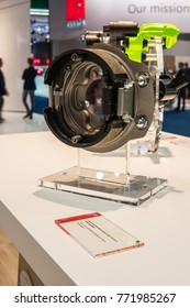 Frankfurt, Germany, Sep 13, 2017: Brembo booth, cross section of modern brake system, drum-in-hut at 67th International Motor Show IAA