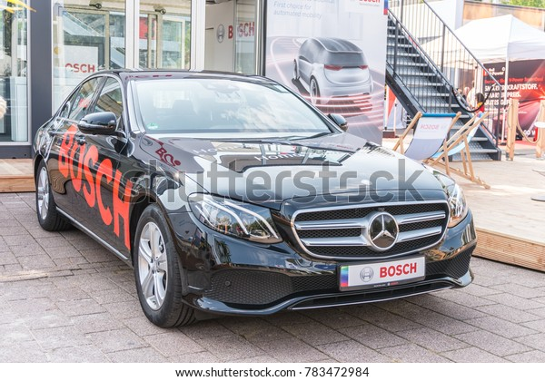 Frankfurt, Germany, Sep 13, 2017: Robert Bosch GmbH booth, Mercedes Benz, mobility of future, connected, automated, electrified, with exciting technology, 67th International Motor Show IAA