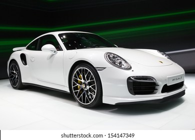 FRANKFURT, GERMANY - SEP 13: Porsche 911 Turbo S at the IAA motor show on Sep 13, 2013 in Frankfurt. More than 1.000 exhibitors from 35 countries are present at the world's largest motor show.