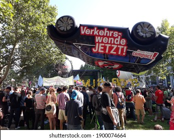 FRANKFURT, GERMANY - Sep 14, 2019: Protests for a mobility change at the International Motor Show, Internationale Automobil Ausstellung, IAA, Frankfurt, Germany 2019