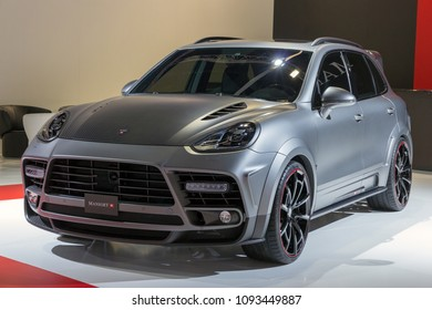 FRANKFURT, GERMANY - SEP 16, 2015: Mansory Porsche Cayenne Turbo sports car showcased at the Frankfurt IAA Motor Show.