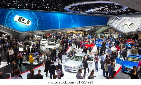 FRANKFURT, GERMANY - SEP 16, 2015: View in the Audi Hall during IAA 2015 motor show.