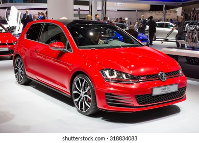"FRANKFURT, GERMANY - SEP 16, 2015: Volkswagen Golf GTI ""Performance"" at the IAA 2015."