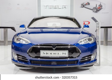 FRANKFURT, GERMANY - SEP 16, 2015: European debut of the Tesla model S P90D at the IAA 2015.