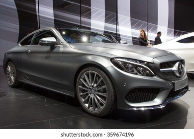 FRANKFURT, GERMANY - SEP 16, 2015: 2016 Mercedes C-Class Coupe at the IAA 2015.
