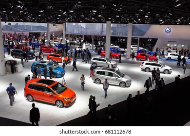FRANKFURT, GERMANY - SEP 16, 2015: New Volkswagen cars shown during IAA 2015 motor show.