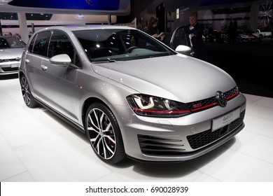 FRANKFURT, GERMANY - SEP 16, 2015: Volkswagen Golf GTI car at the Frankfurt IAA Motor Show.