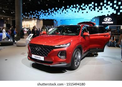 FRANKFURT, GERMANY - SEP 16, 2019: Hyundai Santa Fe Suv car reveiled at the Frankfurt IAA Motor Show 2019