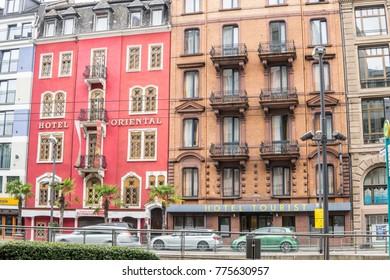 Frankfurt, Germany, Sep 17, 2017: City architecture, buildings, facades, streets, skyscraper in Frankfurt am Main river