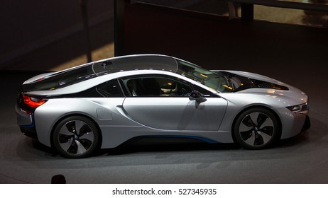 FRANKFURT, GERMANY - SEP 20, 2013: BMW i8 on display at the Frankfurt IAA motor show.