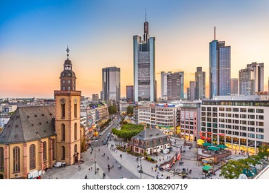 FRANKFURT, GERMANY - SEP 26, 2009:  view to skyline of Frankfurt with Hauptwache and skyscraper in early morning light.