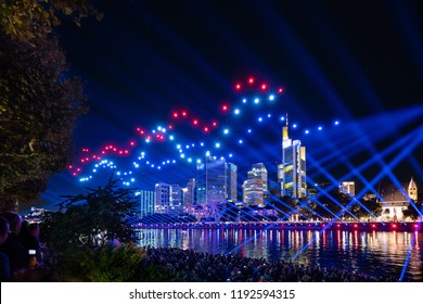 Frankfurt, Germany, Sep 29 2018 - Altstadtfest (Old Town Festival) celebrating the opening of the rebuilt old town with a drone show