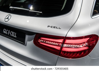 Frankfurt, Germany, Sept 12, 2017: Pre-production car Mercedes-Benz GLC F-Cell EQ Power electric model at 67th International Motor Show (IAA) innovative fuel-cell, battery technology, plug-in hybrid