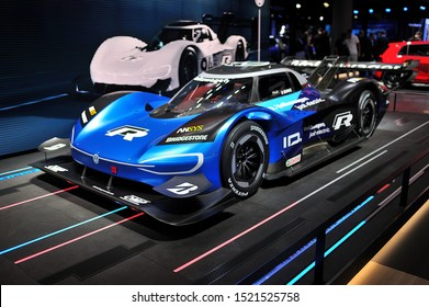 FRANKFURT, GERMANY - SEPT 2019: blue black Volkswagen VW I.D. R is a prototype fully electric vehicle designed as part of Volkswagen's I.D. Project, and included within Volkswagen's R series of cars