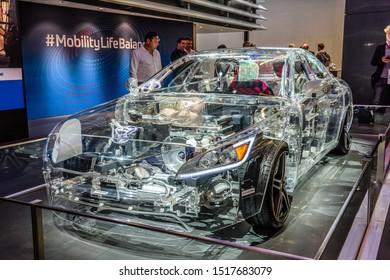 FRANKFURT, GERMANY - SEPT 2019: concept of electric car, IAA International Motor Show Auto Exhibtion.