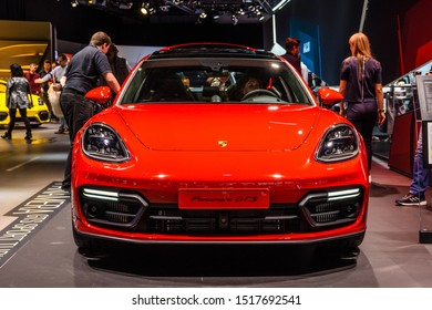 FRANKFURT, GERMANY - SEPT 2019: red PORSCHE PANAMERA GTS 971 G2, IAA International Motor Show Auto Exhibtion.