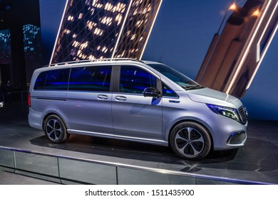FRANKFURT, GERMANY - SEPT 2019: silver gray MERCEDES-BENZ V-Class electric minivan car, IAA International Motor Show Auto Exhibtion.