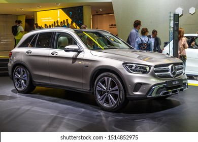 FRANKFURT, GERMANY - SEPT 2019: silver gray MERCEDES-BENZ GLC 300 E 4MATIC electric SUV, IAA International Motor Show Auto Exhibtion.