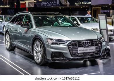 FRANKFURT, GERMANY - SEPT 2019: silver gray AUDI A6 AVANT ALLROAD QUATTRO C8 estate wagon combi family car, IAA International Motor Show Auto Exhibtion.