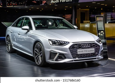 FRANKFURT, GERMANY - SEPT 2019: silver gray AUDI A4 B9 8W 45 TFSI QUATTRO sedan, IAA International Motor Show Auto Exhibtion.