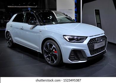 FRANKFURT, GERMANY - SEPT 2019: silver gray AUDI A1 30 TFSI, IAA International Motor Show Auto Exhibtion.