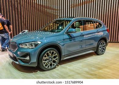 FRANKFURT, GERMANY - SEPT 2019: steel blue BMW X1 F48 small SUV, IAA International Motor Show Auto Exhibtion.