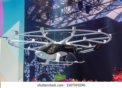 FRANKFURT, GERMANY - SEPT 2019: white VOLOCOPTER 2X is a German two-seat, optionally-piloted, multirotor electric helicopter, designed and produced by Volocopter GmbH of Bruchsal, introduced at the AE