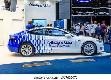FRANKFURT, GERMANY - SEPT 2019: white blue TESLA S Velodyne Lidar electric car, IAA International Motor Show Auto Exhibtion.