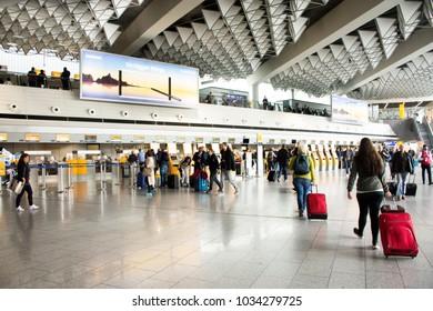 FRANKFURT, GERMANY - SEPTEMBER 10 : German and foreigner traveler wait flight with passenger arriving and departing at Frankfurt International Airport on September 10, 2017 in Frankfurt, Germany