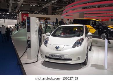 FRANKFURT, GERMANY - SEPTEMBER 11: Frankfurt international motor show (IAA) 2013. Nissan LEAF electrical car
