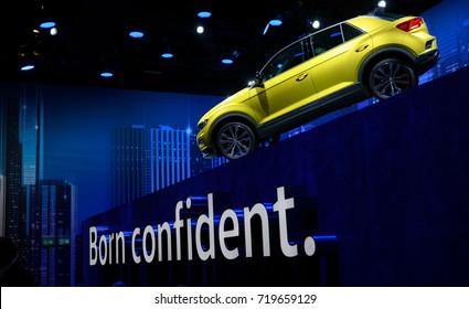 Frankfurt, Germany, September 12, 2017: Volkswagen T-Roc compact SUV car show at the Frankfurt IAA Motor Show 2017