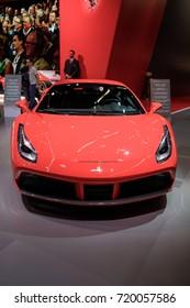 Frankfurt Germany, September 12, 2017: Ferrari 488 GTB presented at Frankfurt IAA 2017 motor show.