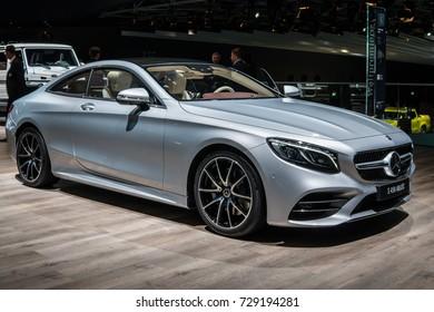 Frankfurt, Germany, September 12, 2017: World premiere: Mercedes-Benz S 450 4MATIC Coupé at 67th International Motor Show (IAA)