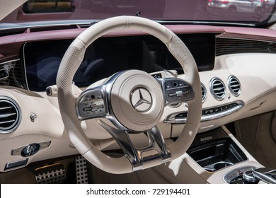 Frankfurt, Germany, September 12, 2017: World premiere: Mercedes-Benz S 450 4MATIC Coupé at 67th International Motor Show (IAA), control board, steering wheel, upholstery, seats,