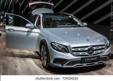 Frankfurt, Germany, September 12, 2017: Mercedes-Benz E-Class 220 d 4Matic All-Terrain T-Modell at 67th International Motor Show (IAA)